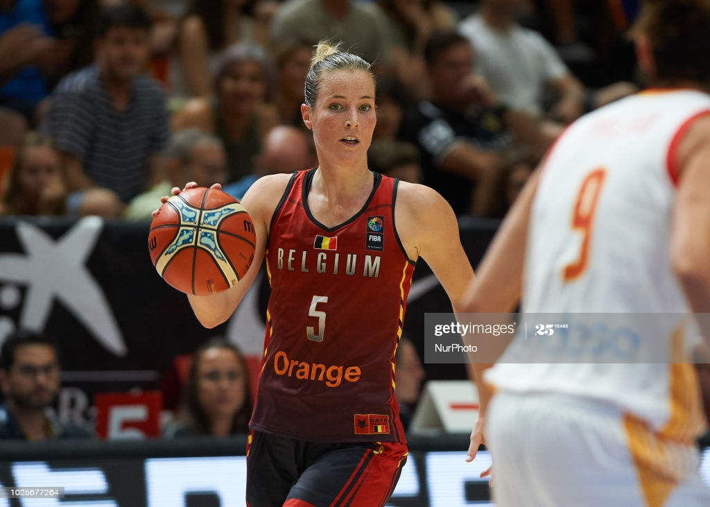 Kim Mestdagh of Belgium National team during the international friendly basket match between Spain and Belgium women's, at Pabellon Fuente de San Luis on August 31, 2018 in Valencia, Spain. (Photo by Maria Jose Segovia/NurPhoto via Getty Images)